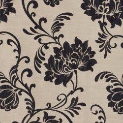 Roleta rzymska beżowa w czarne kwiaty